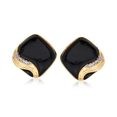 C. 1980 Vintage Black Onyx and .25 ct. t.w. Diamond Earrings in 14kt Yellow Gold, , default