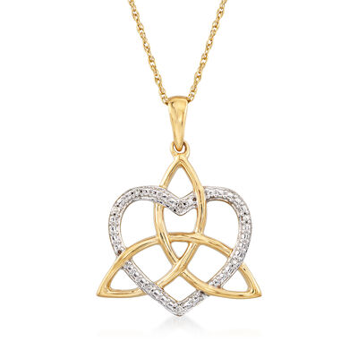 14kt Yellow Gold Trinity Knot and Heart Necklace with Diamond Accents, , default