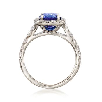C. 1990 Vintage 1.50 Carat Sapphire and .85 ct. t.w. Diamond Ring in 14kt White Gold. Size 4