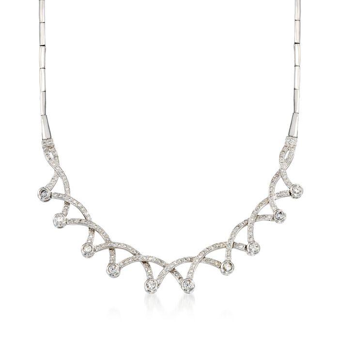 "C. 1970 Vintage 2.75 ct. t.w. Diamond Necklace in 18kt White Gold. 16.75"", , default"