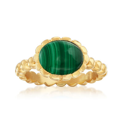 Italian 10x8mm Oval Malachite Ring in 18kt Gold Over Sterling, , default