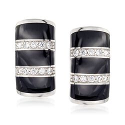 "Belle Etoile ""Regal"" Black Onyx and .36 ct. t.w. CZ Hoop Earrings in Sterling Silver. 5/8"", , default"