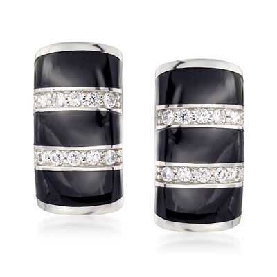 "Belle Etoile ""Regal"" Black Onyx and .36 ct. t.w. CZ Hoop Earrings in Sterling Silver, , default"