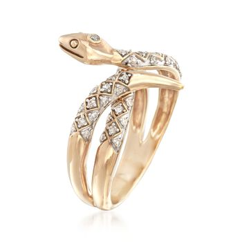 .23 ct. t.w. Diamond Snake Ring in 14kt Gold Over Sterling, , default