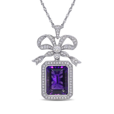 11.00 Carat Amethyst, 1.20 ct. t.w. Diamond and .25 ct. t.w. White Sapphire Pendant Necklace in 14kt White Gold