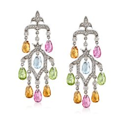 C. 2000 Vintage 4.10 ct. t.w. Multi-Stone and .65 ct. t.w. Diamond Chandelier Earrings in 14kt White Gold, , default
