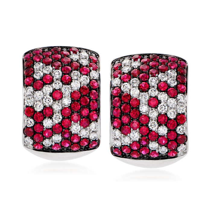 3.60 ct. t.w. Ruby and 1.80 ct. t.w. Diamond Earrings in 14kt White Gold