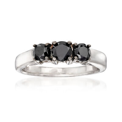 1.00 ct. t.w. Black Diamond Three-Stone Ring in Sterling Silver, , default