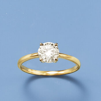 1.00 Carat CZ Solitaire Ring in 14kt Yellow Gold, , default