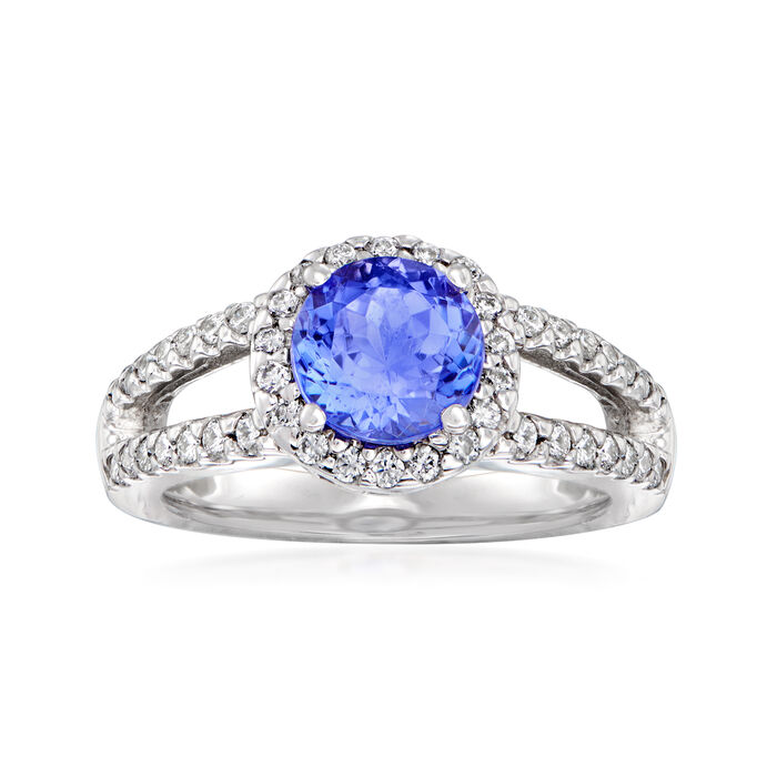 C. 1980 Vintage 1.50 Carat Tanzanite and .54 ct. t.w. Diamond Halo Ring in 14kt White Gold