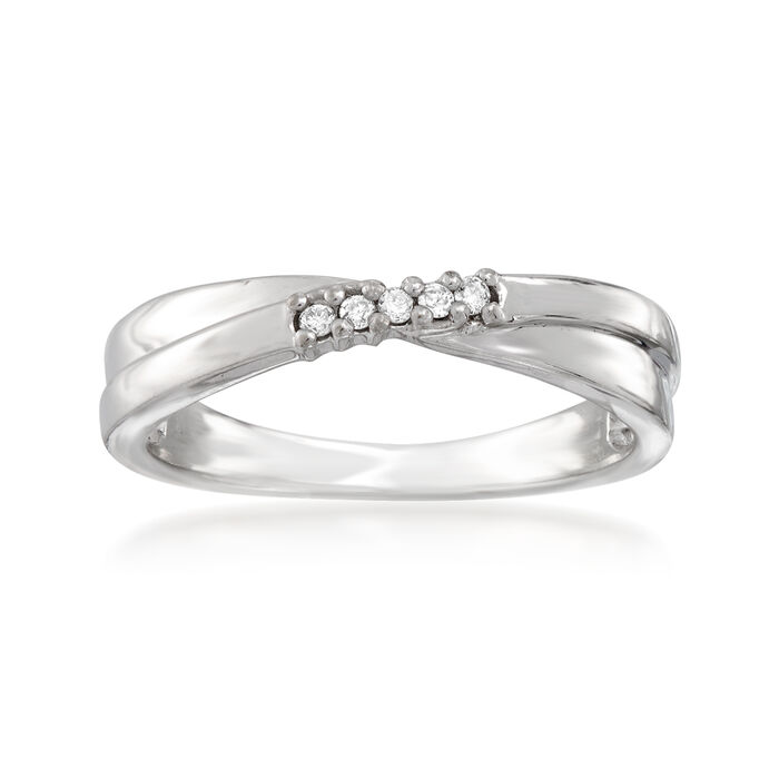 C. 1990 Vintage 18kt White Gold Crisscross Ring with Diamond Accents. Size 6.5, , default