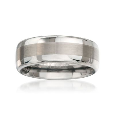 Men's 8mm Tungsten Carbide Wedding Ring, , default