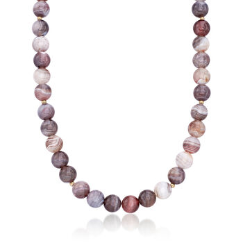 10mm Gray Botswana Agate Bead Necklace With 14kt Gold Over Sterling, , default