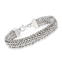 "Italian Sterling Silver Mixed-Link Bracelet. 7"", , default"