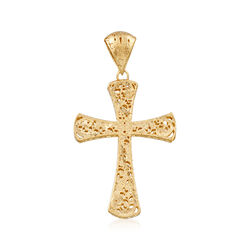 Italian 18kt Gold Over Sterling Silver Filigree Cross Pendant, , default