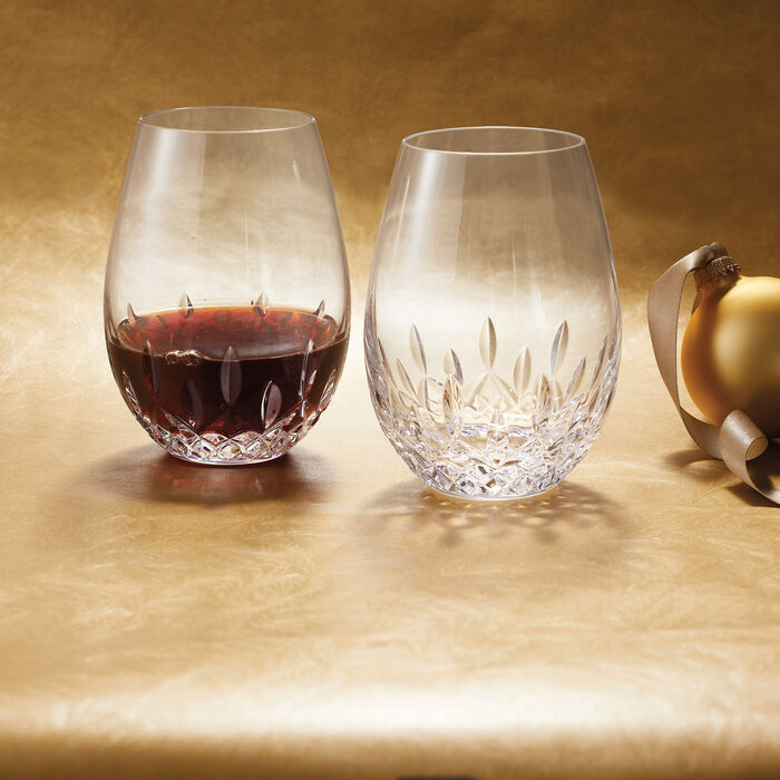 """Waterford Crystal """"Giftology"""" Set of Two Lismore Nouveau Red Wine Stemless Crystal Glasses"""