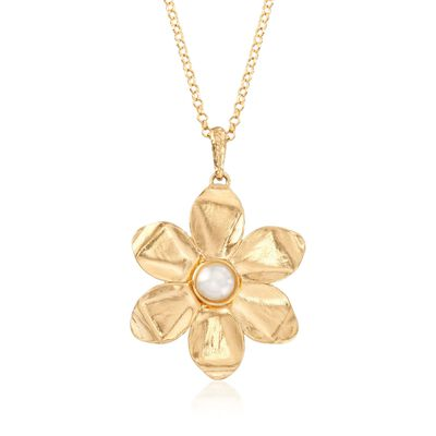 5.5-6mm Cultured Pearl and 18kt Yellow Gold Over Sterling Silver Flower Pendant Necklace, , default