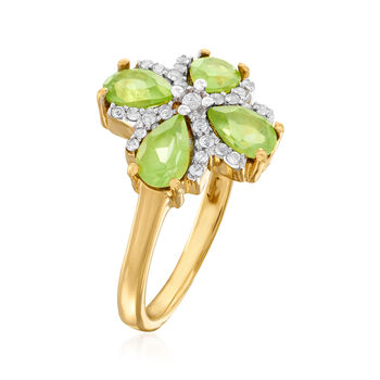 1.50 ct. t.w. Peridot and .10 ct. t.w. White Topaz Flower Ring in 18kt Gold Over Sterling