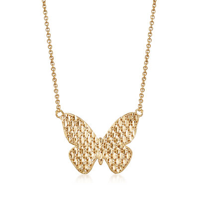 Italian 14kt Yellow Gold Diamond-Cut and Polished Butterfly Necklace, , default