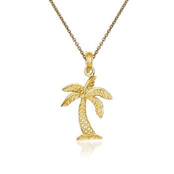 "14kt Yellow Gold Palm Tree Pendant Necklace. 18"", , default"