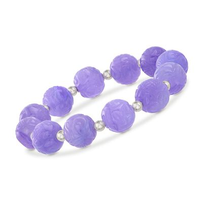 12mm Carved Lavender Jade Bead Stretch Bracelet with Sterling Silver