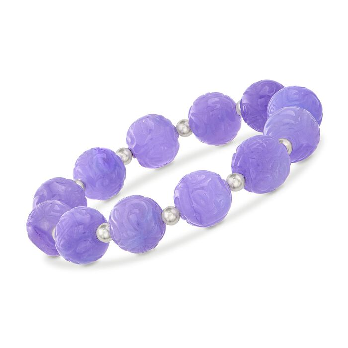"12mm Carved Lavender Jade Bead Stretch Bracelet with Sterling Silver. 7"""