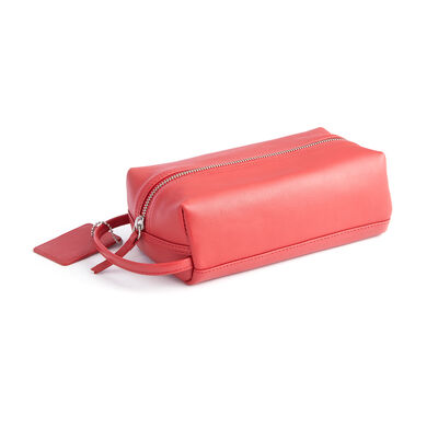 Royce Red Leather Compact Toiletry Bag, , default