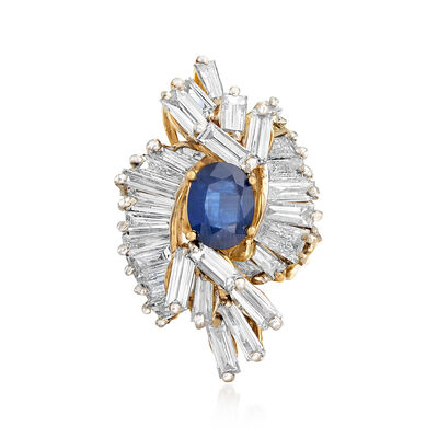 C. 1990 Vintage 2.25 Carat Sapphire and 6.50 ct. t.w. Diamond Ring in 14kt Yellow Gold , , default