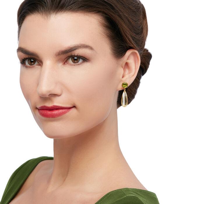 9.20 ct. t.w. Lemon Quartz and 3.40 ct. t.w. Peridot Drop Earrings in 18kt Gold Over Sterling