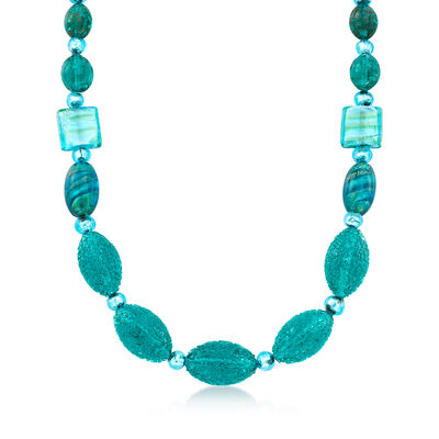 Blue Murano Glass Bead Necklace with 14kt Gold Over Sterling, , default
