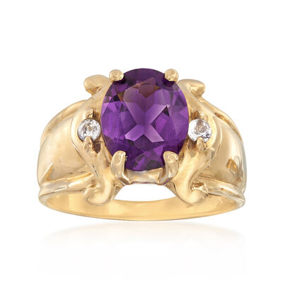 C. 1980 Vintage 2.20 Amethyst Ring with CZ Accents in 10kt Yellow Gold, , default