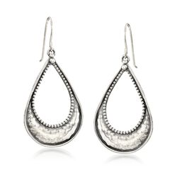 Sterling Silver Hammered and Beaded Open Teardrop Earrings, , default