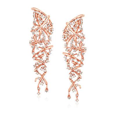3.35 ct. t.w. Diamond Drop Earrings in 14kt Rose Gold, , default