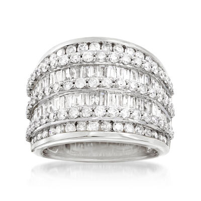 3.00 ct. t.w. Diamond Multi-Row Ring in Sterling Silver