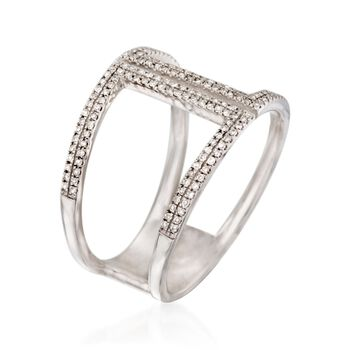 .25 ct. t.w. Diamond Double Bar Ring in Sterling Silver. Size 6