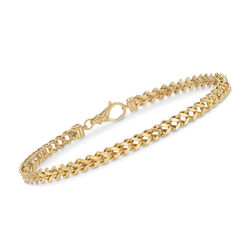 Men's 14kt Yellow Gold Franco Link Bracelet, , default