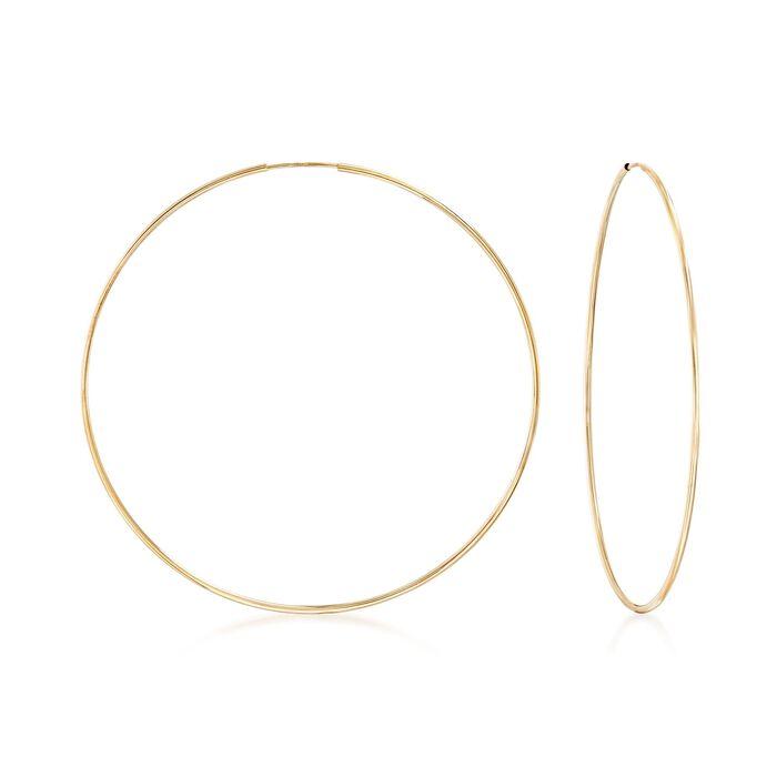 "1.25mm 14kt Yellow Gold Endless Hoop Earrings. 2 1/2"", , default"