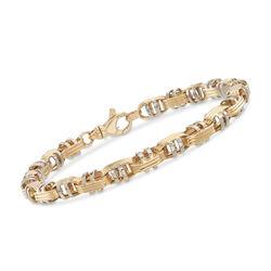 Italian Men's 14kt Two-Tone Gold Oval Link Bracelet, , default
