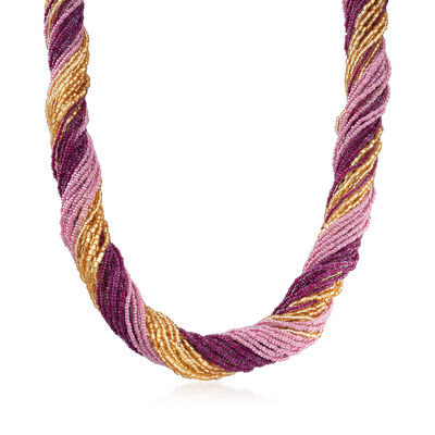 Italian Purple and Gold Murano Glass Bead Torsade Necklace in 18kt Gold Over Sterling