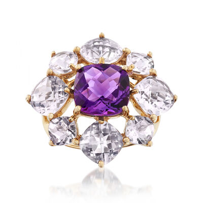 C. 1980 5.60 ct. t.w. Rock Crystal and 3.15 Carat Amethyst Floral Ring in 14kt Yellow Gold, , default