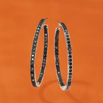 """2.70 ct. t.w. Black Spinel Inside-Outside Hoop Earrings in Sterling Silver. 1 5/8"""", , default"""