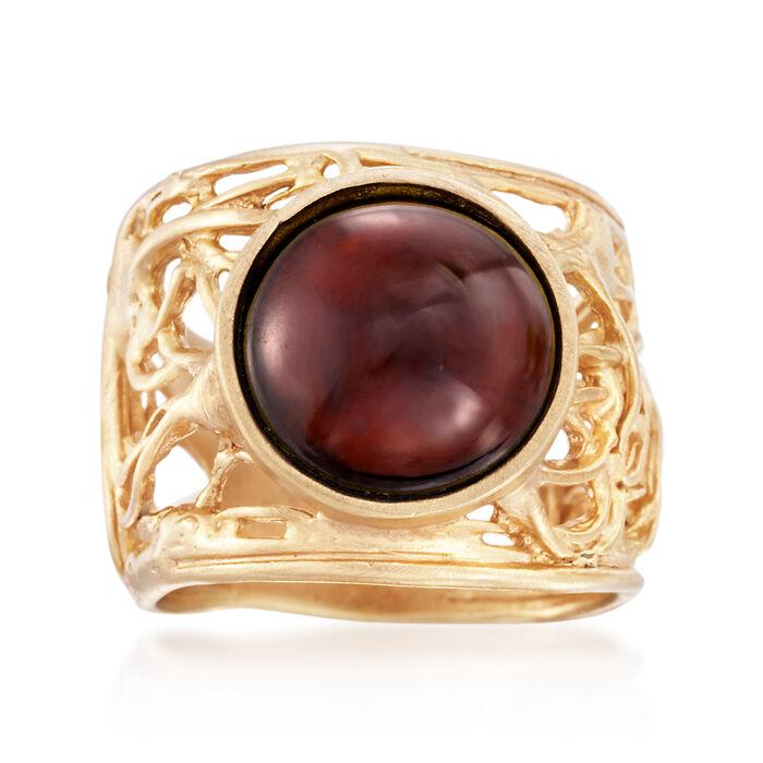 7.00 Carat Cabochon Garnet Ring in 18kt Gold Over Sterling. Size 6, , default