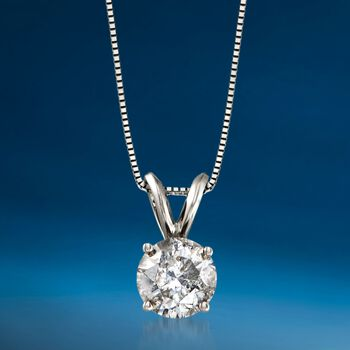 "1.25 Carat Diamond Solitaire Necklace in 14kt White Gold. 18"", , default"