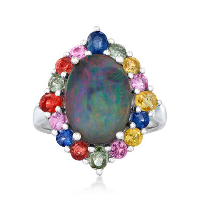 Blue Opal and 1.50 ct. t.w. Multicolored Sapphire Ring in Sterling Silver