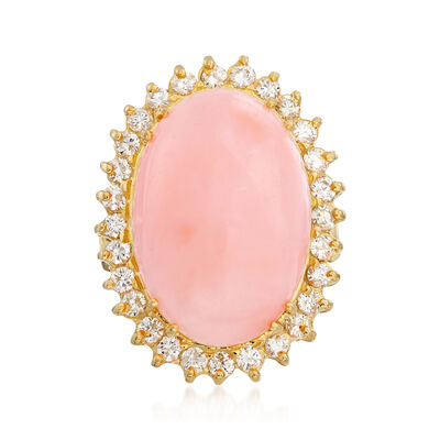C. 1960 Vintage Pink Coral and .90 ct. t.w. Diamond Ring in 18kt Yellow Gold, , default