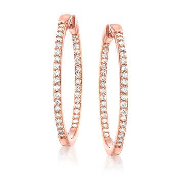 """2.00 ct. t.w. Diamond Inside-Outside Hoop Earrings in 18kt Rose Gold Over Sterling Silver. 1 1/2"""", , default"""