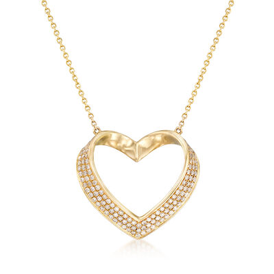 .81 ct. t.w. Pave Diamond Heart Pendant Necklace in 14kt Yellow Gold, , default
