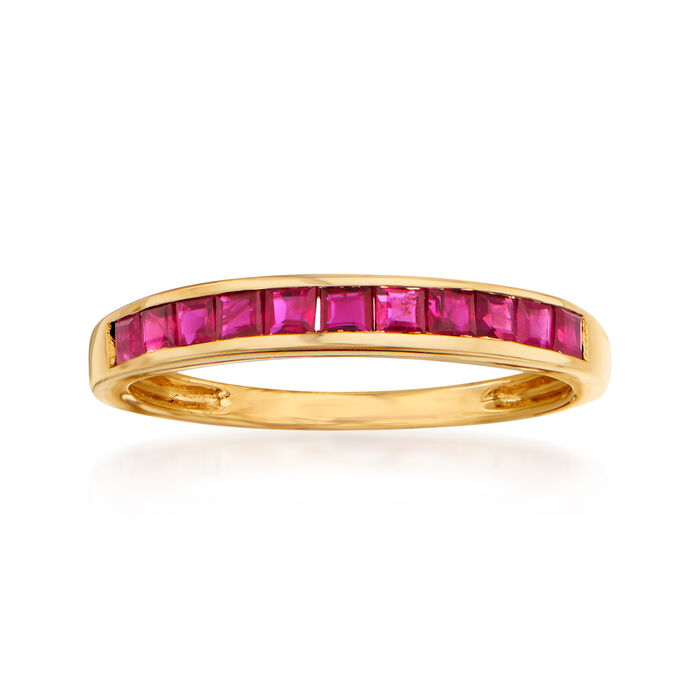 .90 ct. t.w. Ruby Ring in 14kt Yellow Gold