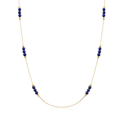 Italian Lapis Bead Station Necklace in 14kt Yellow Gold, , default