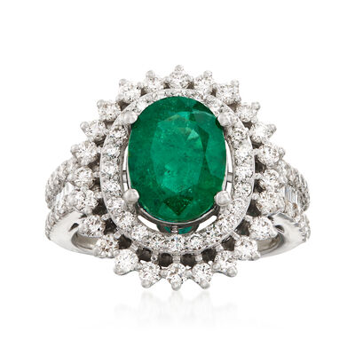 2.20 Carat Emerald and 1.34 ct. t.w. Diamond Ring in 18kt White Gold, , default